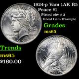 1924-p Vam 1AK R5 Peace Dollar $1 Grades GEM Unc