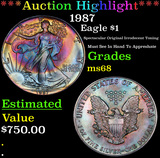 ***Auction Highlight*** 1987 Silver Eagle Dollar 1 Grades GEM+++ Unc (fc)
