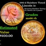 1941-d Rainbow Toned Lincoln Cent 1c Grades GEM+ Unc RB
