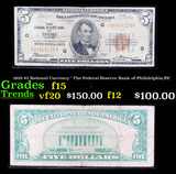 1929 $5 National Currency ' The Federal Reserve Bank of Philidelphia,PA' Grades f+