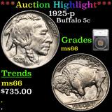 ***Auction Highlight*** 1925-p Buffalo Nickel 5c Graded ms66 By SEGS (fc)