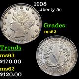 1908 Liberty Nickel 5c Grades Select Unc