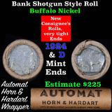 Buffalo Nickel Shotgun Roll in Old Bank Style 'Automat Horn & Hardart' Wrapper 1924 & D Mint Ends