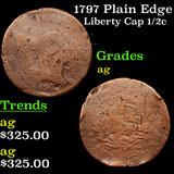 1797 Plain Edge Liberty Cap half cent 1/2c Grades ag