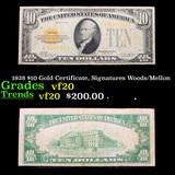 1928 $10 Gold Certificate, Signatures Woods/Mellon Grades vf, very fine