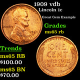 1909 vdb Lincoln Cent 1c Grades GEM Unc RB
