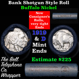 Buffalo Nickel Shotgun Roll in Old Bank Style 'Bell Telephone'  Wrapper 1919 & d Mint Ends