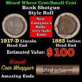 Mixed small cents 1c orig shotgun roll, 1917-d Wheat Cent, 1883 Indian Cent other end, Brandt Wrappe