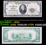 1929 $20 National Currency 'The Federal Reserve Bank Of new York, NY' Grades vf+