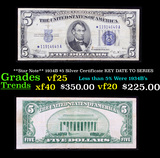 **Star Note** 1934B $5 Silver Certificate KEY DATE TO SERIES Grades vf+
