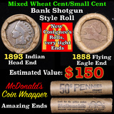 Mixed small cents 1c orig shotgun roll, 1858 Flying Eagle cent, 1893 Indian Cent other end, McDnalds