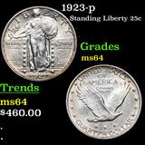 1923-p Standing Liberty Quarter 25c Grades Choice Unc