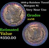 1898-p Rainbow Toned Morgan Dollar 1 Grades Choice AU/BU Slider