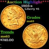 ***Auction Highlight*** 1903-s Gold Liberty Half Eagle $5 Grades Select Unc (fc)