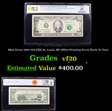 PCGS Mint Error 1995 $20 FRN St. Louis, MI Offset Printing Error Back To Face Graded vf20 By PCGS