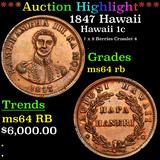 ***Auction Highlight*** 1847 Hawaii Hawaii Penny 1c Grades Choice Unc RB (fc)
