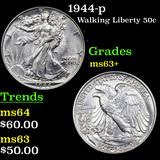 1944-p Walking Liberty Half Dollar 50c Grades Select+ Unc