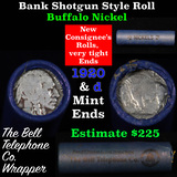 Buffalo Nickel Shotgun Roll in Old Bank Style 'Bell Telephone'  Wrapper 1920 & d Mint Ends