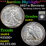 ***Auction Highlight*** 1917-s Reverse Walking Liberty Half Dollar 50c Graded Select+ Unc By USCG (f