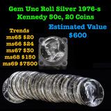 ***Auction Highlight*** Full roll of Bi-Centennial 1976-s Silver Kennedy 50c, 20 Coins total Kennedy