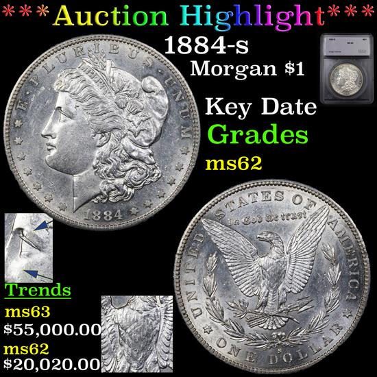 ***Auction Highlight*** 1884-s Morgan Dollar $1 Graded ms62 By SEGS (fc)