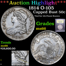 1814 O-105 Capped Bust Half Dollar 50c Graded GEM+