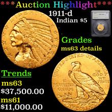 1911-d Gold Indian Half Eagle $5 Graded ms63
