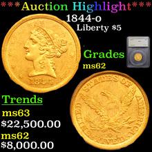 1844-o Gold Liberty Half Eagle $5 Graded ms62