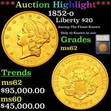 1852-o Gold Liberty Double Eagle $20 Graded ms62