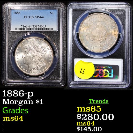 PCGS 1886-p Morgan Dollar $1 Graded ms64 By PCGS