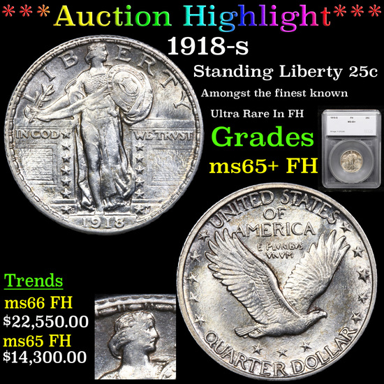 ***Auction Highlight*** 1918-s Standing Liberty Quarter 25c Graded ms65+ FH By SEGS (fc)