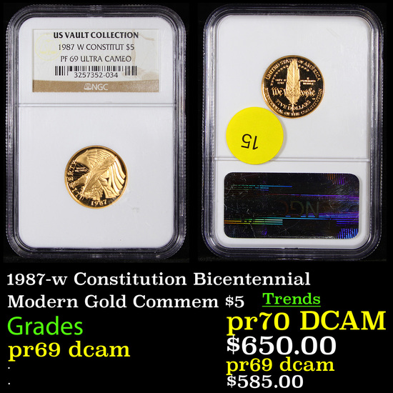 Proof NGC 1987-w Constitution Bicentennial Modern Commem $5 Gold Graded pr69 dcam By NGC