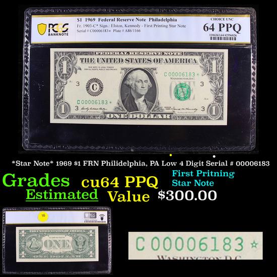 PCGS *Star Note* 1969 $1 FRN Philidelphia, PA Low 4 Digit Serial # 00006183 Graded cu64 PPQ By PCGS