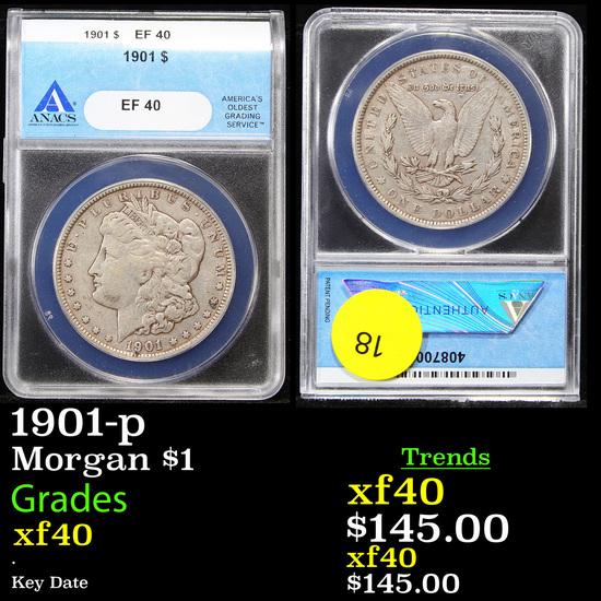 ANACS 1901-p Morgan Dollar $1 Graded xf40 By ANACS