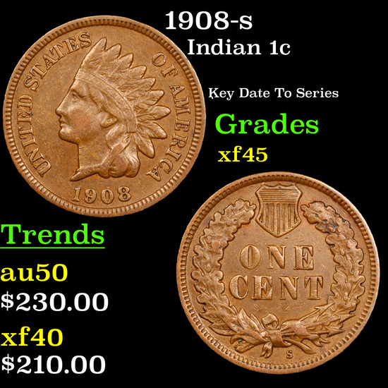 1908-s Indian Cent 1c Grades xf+