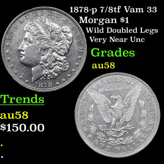 1878-p 7/8tf Vam 33 Morgan Dollar $1 Grades Choice AU/BU Slider
