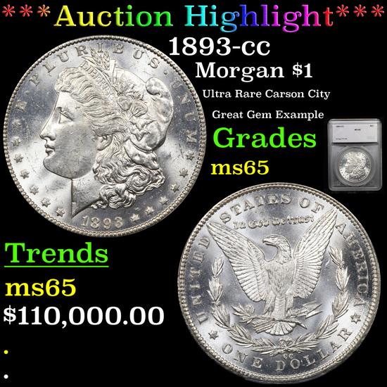 ***Auction Highlight*** 1893-cc Morgan Dollar $1 Graded ms65 By SEGS (fc)
