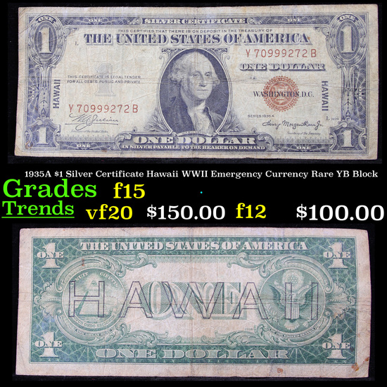 1935A $1 Silver Certificate Hawaii WWII Emergency Currency Rare YB Block Grades f+