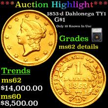 1853-d Dahlonega TY1 Gold Dollar $1 Graded ms62