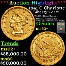 1841 C Charlotte Gold Liberty Quarter Eagle $2