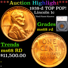 1938-d TOP POP! Lincoln Cent 1c Graded ms68 rd
