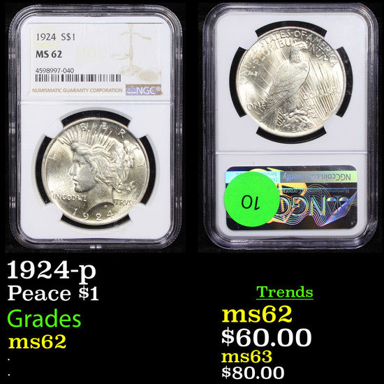 NGC 1924-p Peace Dollar $1 Graded ms62 By NGC