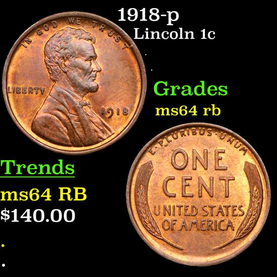 1918-p Lincoln Cent 1c Grades Choice Unc RB