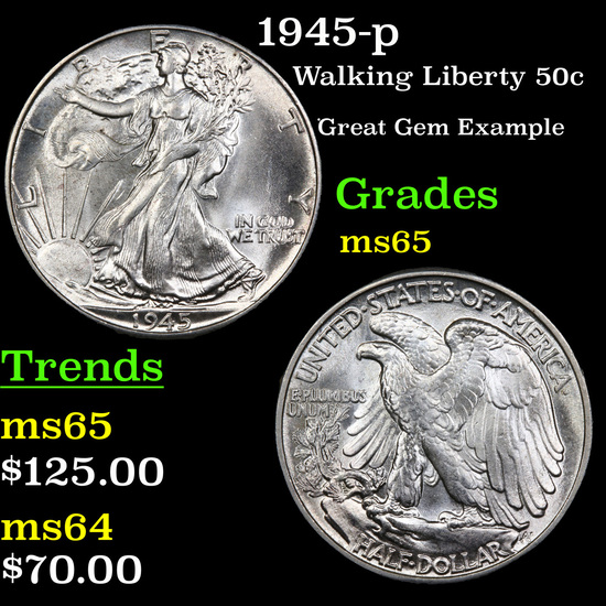 1945-p Walking Liberty Half Dollar 50c Grades GEM Unc