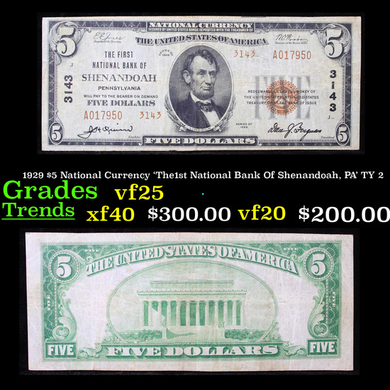 1929 $5 National Currency 'The1st National Bank Of Shenandoah, PA' TY 2 Grades vf+