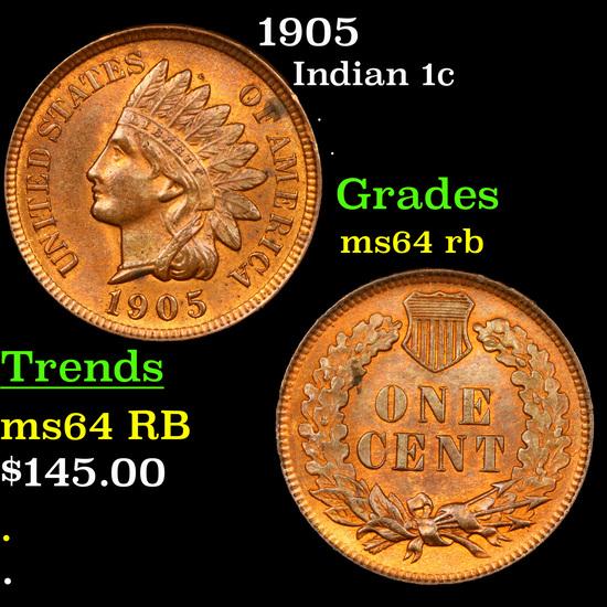 1905 Indian Cent 1c Grades Choice Unc RB