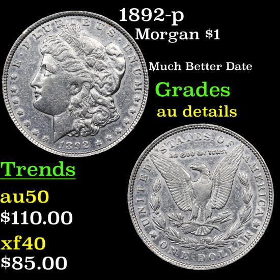 1892-p Morgan Dollar $1 Grades AU Details