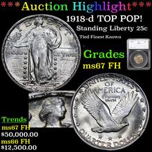 1918-d TOP POP! Standing Liberty Quarter 25c Grade