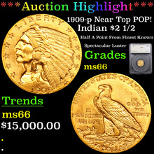 1909-p Near Top POP Gold Indian Quarter Eagle $2