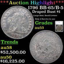 1796 BB-65/B-5 Draped Bust Dollar $1 Graded au53
